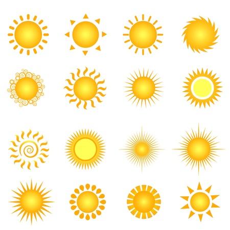 Various suns icon set on white