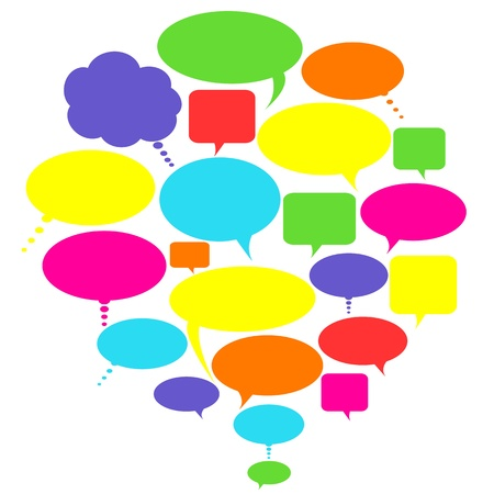 Illustration for Various colorful talk, thought and speech bubbles - Royalty Free Image