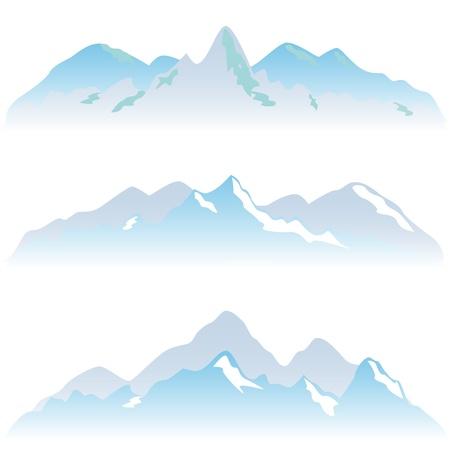 Illustration pour Snowy mountain peaks in winter - image libre de droit