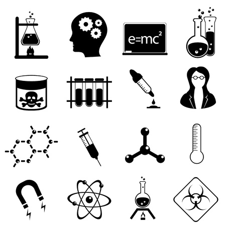Chemistry and medical science icon set in black