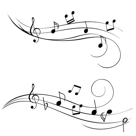 Various music notes on stave