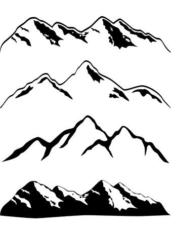 Illustration pour Various high mountain peaks - image libre de droit