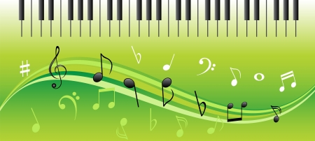 Music notes on swirls with piano keys
