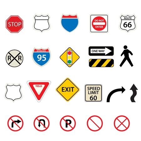 Various traffic and road signs