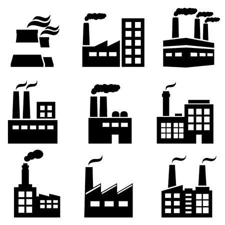 Industrial building, factory and power plants icon set