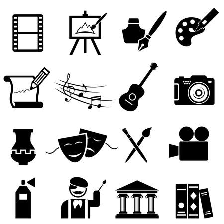 Illustration pour Fine arts icon set in black - image libre de droit