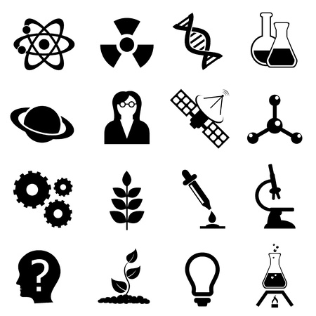 Science related, physics, biology and chemistry icon set