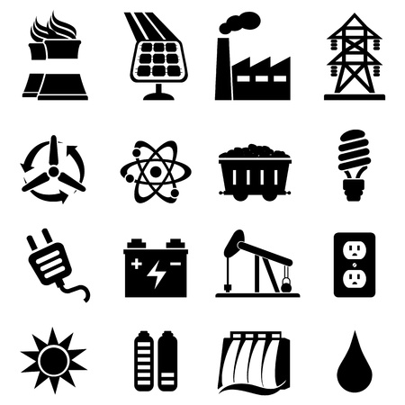 Ilustración de Energy related icon set in black - Imagen libre de derechos