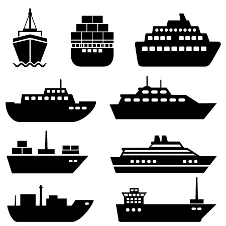 Ship and boat icon set