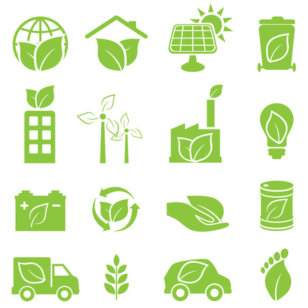 Green eco and environment icon setのイラスト素材