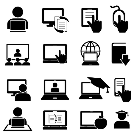 Foto de Online education and learning icon set - Imagen libre de derechos