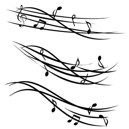Ornamental stave with music notes