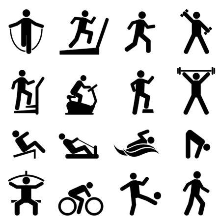 Ilustración de Exercise, fitness, gym and healthy living icon set - Imagen libre de derechos