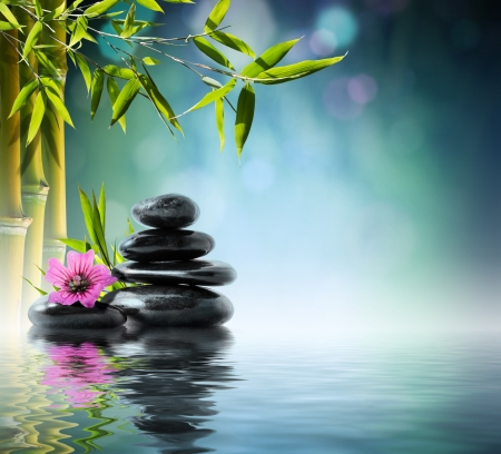 Photo pour tower black stone and hibiscus with bamboo on the water - image libre de droit