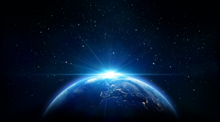 Photo pour blue sunrise, view of earth from space  - image libre de droit