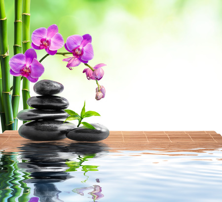 spa with bamboo , orchids and water
