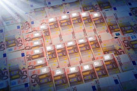 Euro symbol  spotlight on euro currency