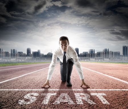 business start  businessman ready for competition