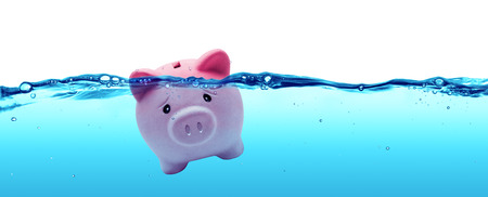 Photo pour Piggy bank drowning in debt  savings to risk - image libre de droit