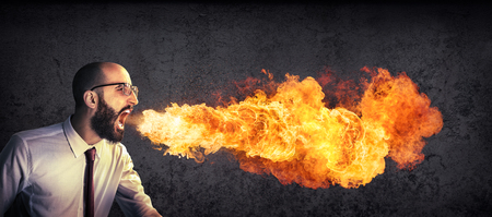Photo for angry and furious announcement - businessman spitting fire - Royalty Free Image