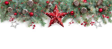 Photo pour Christmas Fir Tree Decorated On White - image libre de droit
