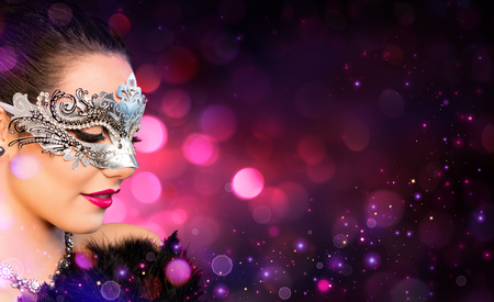 Photo for Attractive Woman Wearing Carnival Mask - Royalty Free Image