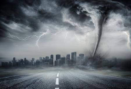 Photo pour Tornado On The Business Road - Dramatic Weather On City - image libre de droit