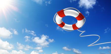 Foto de Throwing A Life Preserver In The Sky - Help Concept - Imagen libre de derechos