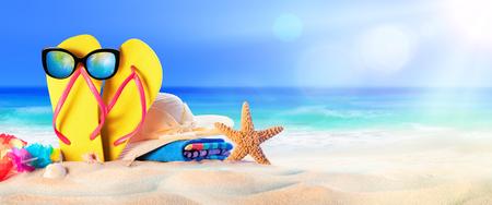 Beach Accessories On Seashore - Summer Holidays