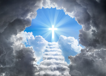 Photo for Stairs Leading To Cross Of Light At End Of Tunnel Of Clouds - Royalty Free Image