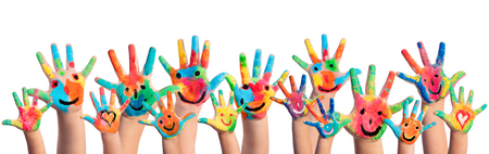 Photo pour Hands Painted With Smileys - image libre de droit