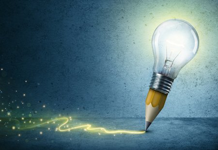 Photo for Light-Bulb Pencil Drawing - Creative Idea Concept - Royalty Free Image