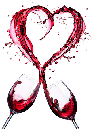 Photo for Romantic Toast Of Red Wine In Splashing In A Heart Shape - Royalty Free Image