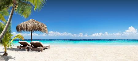 Chairs And Umbrella At Tropical Beach - Seascape Banner