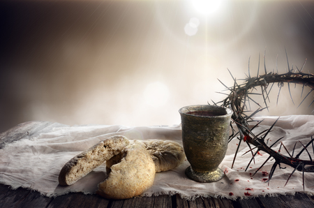 Photo for Communion And Passion - Unleavened Bread Chalice Of Wine And Crown Of Thorns - Royalty Free Image