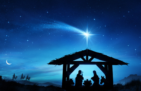 Photo pour Nativity Scene With The Holy Family In Stable - image libre de droit