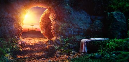 Photo for Crucifixion At Sunrise - Empty Tomb With Shroud - Resurrection Of Jesus Christ - Royalty Free Image