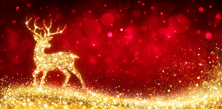 Photo for Christmas Card - Golden Magic Deer In Shiny Red Background - Royalty Free Image