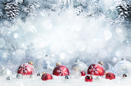 Photo pour Merry Christmas - Baubles On Snow With Fir Branches - image libre de droit