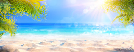 Photo for Sunny Tropical Beach With Palm Leaves And Paradise Island - Royalty Free Image