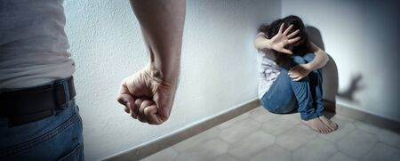 Photo for Domestic Violence Concept - Husband Beating His Wife - Royalty Free Image