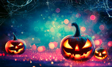 Photo for Halloween Abstract Party - Smiling Pumpkins On Defocused Shiny Background - Royalty Free Image