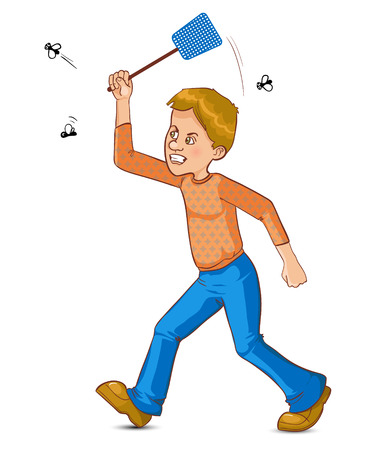 Cartoon man tries to catch fly with flyswatter, vector image, eps10
