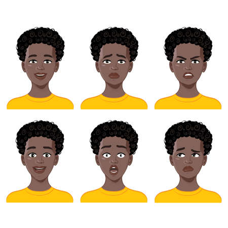 Illustration for Set of emotions on cartoon African American boy face.  Facial expression of joy, fear, surprise, anger, sadness, doubt. Vector image - Royalty Free Image