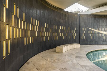 Abu Dhabi, United Arab Emirates - Oct.26, 2018: Wahat Al Karama - war memorial and monument in Abu Dhabi. Pavillion of Honor. Aluminum plates with the names of the dead.