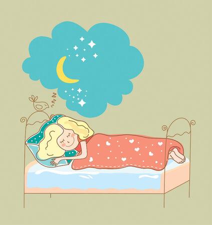 vector illustration girl sleeping