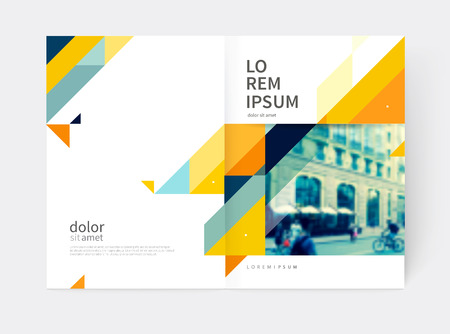 Minimalistic Brochure design. Annual report cover template. a4 size. Blue, yellow and gray diagonal lines and triangles. vector-stock illustration