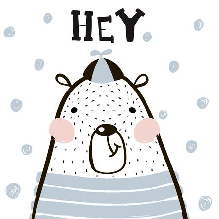 Illustration pour Cute cartoon bear boy in scandinavian style. Childish print for nursery, kids apparel,poster, postcard. Vector Illustration - image libre de droit