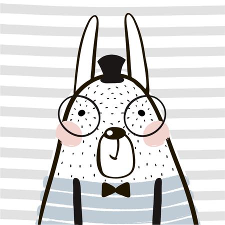 Foto de Cute cartoon rabbit in scandinavian style. Childish print for nursery, kids apparel,poster, postcard. Vector Illustration - Imagen libre de derechos