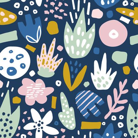 Ilustración de Floral seamless pattern with funky flowers. Creative surface design vector background - Imagen libre de derechos